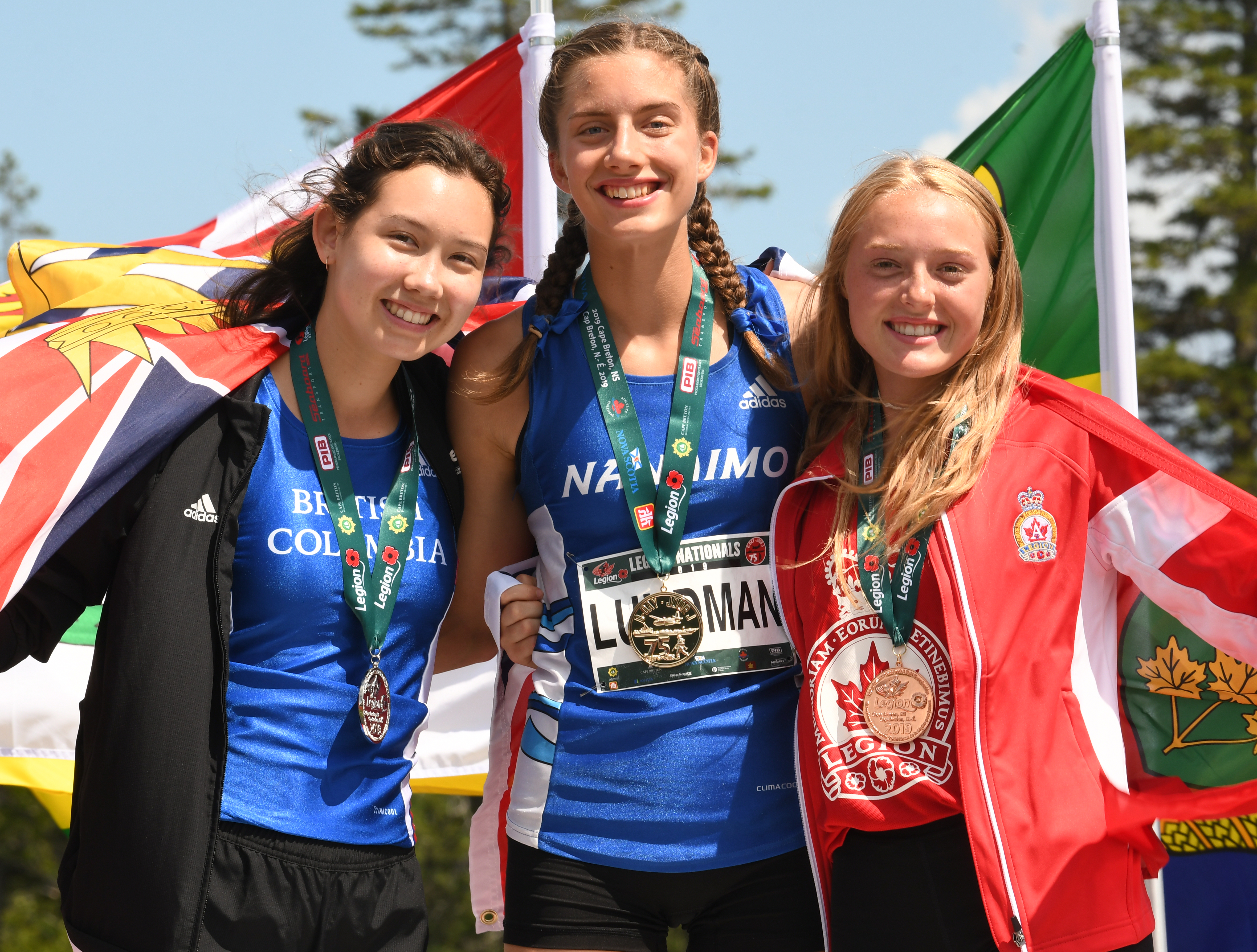 U18F 300m Walk Olivia Lundman takes home gold and a new Legion Nationals record. Standing on the podium with the Silver and Bronze medalists.