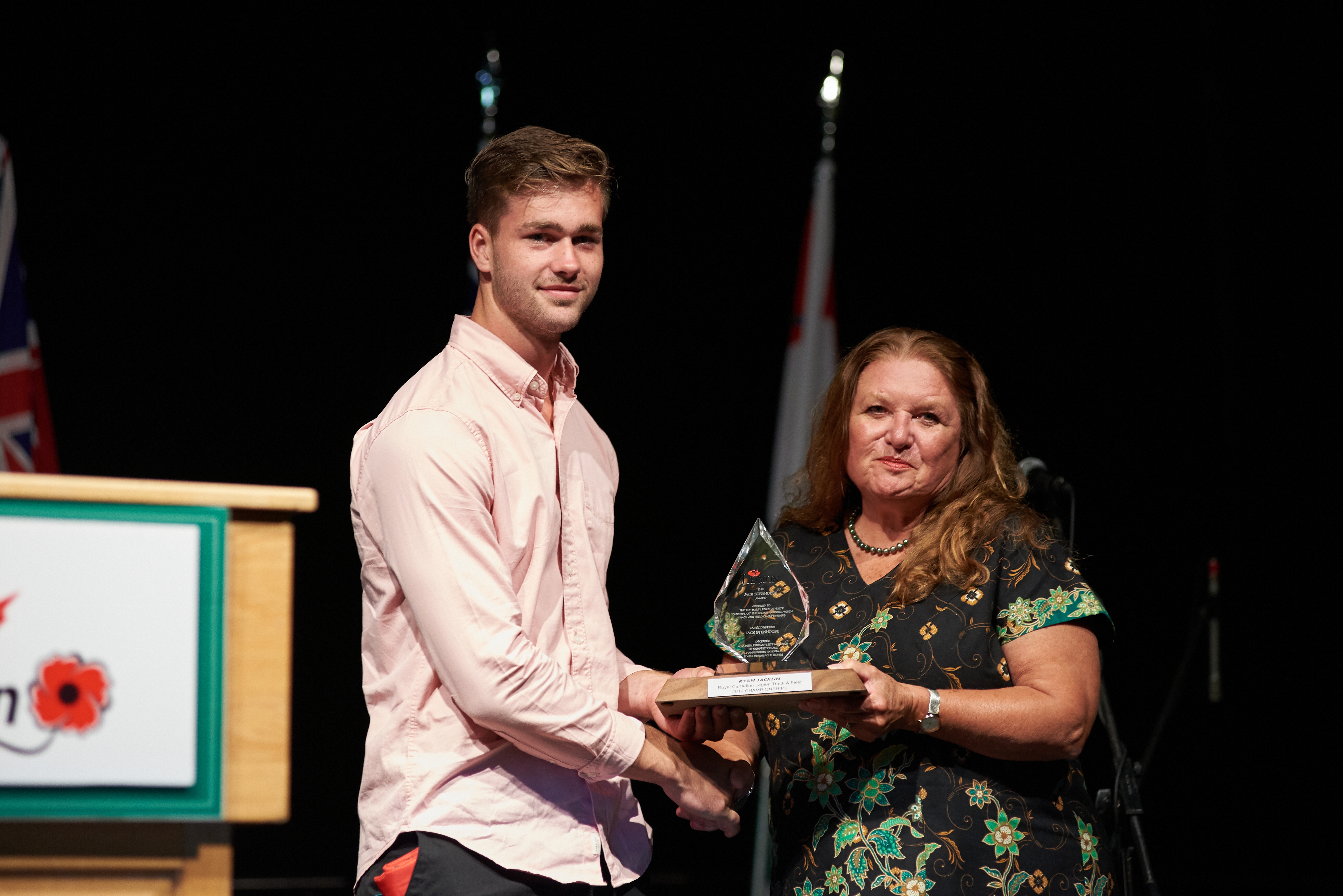 Ryan Jacklin from Ontario Command receives Jack Stenhouse Award for Top Male Athlete.