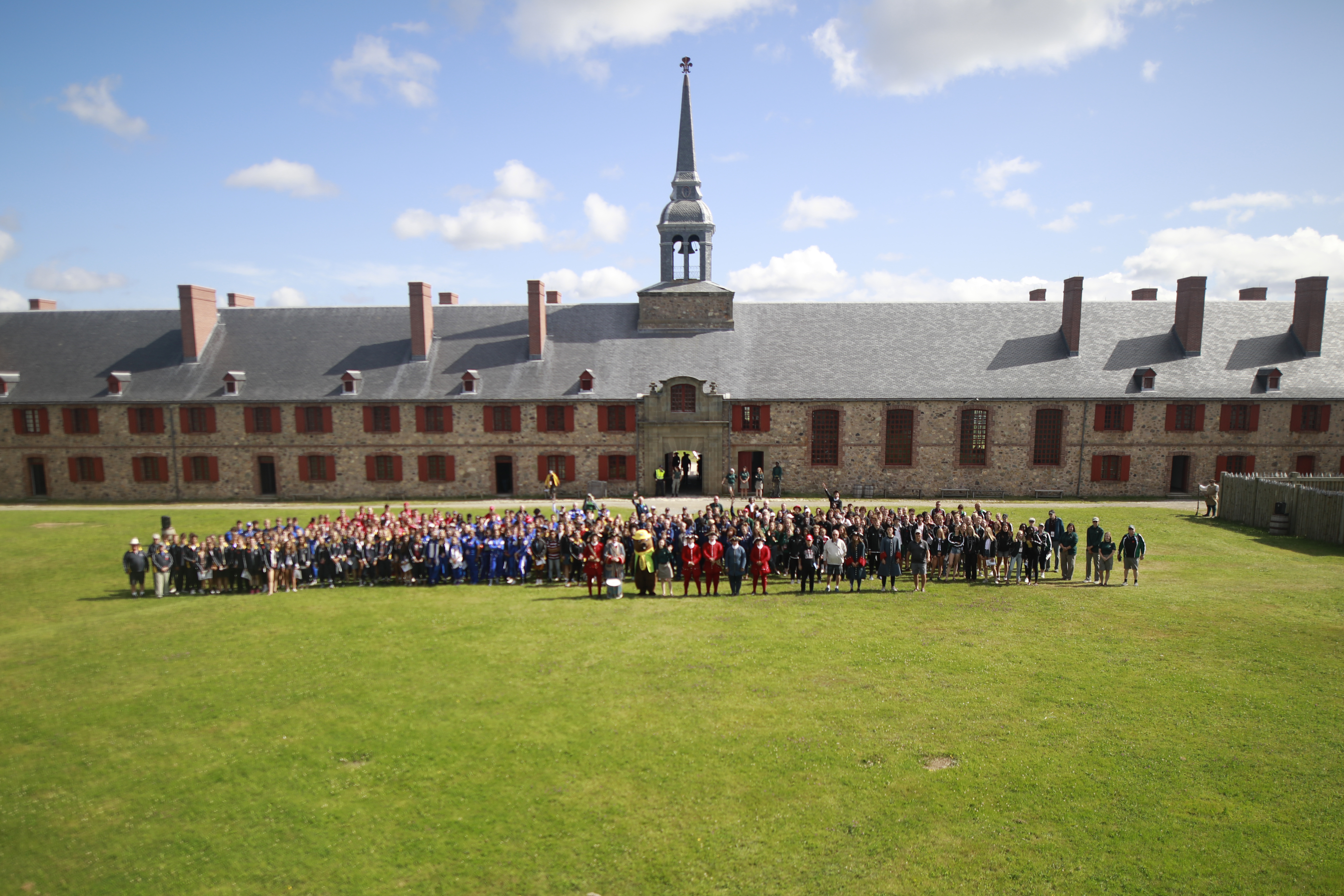 Drone shot of our group at the Fortress of Louisbourg