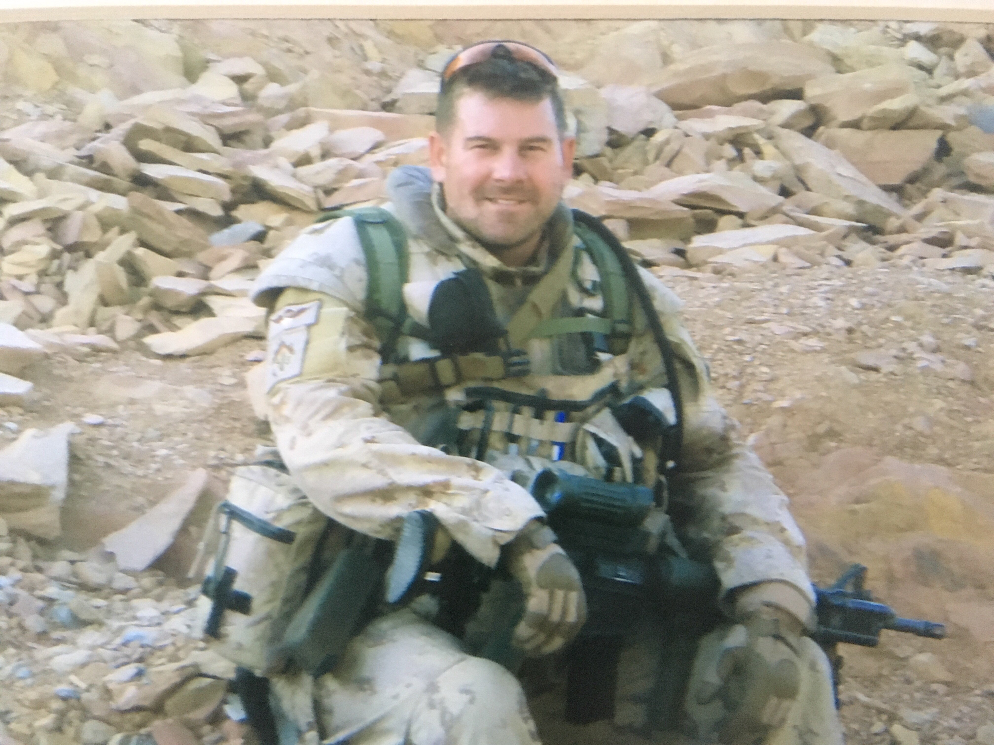 Lee Harrison poses while on tour in Afghanistan TF 3-08