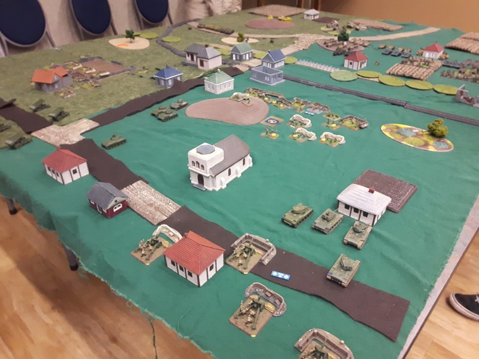 overhead view of entire tabletop war game.